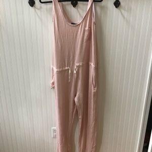 Pink elastic waist jumpsuit